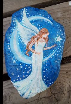 Red headed Angel with moon and stars