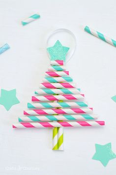 Paper Straw Christmas Tree Ornaments