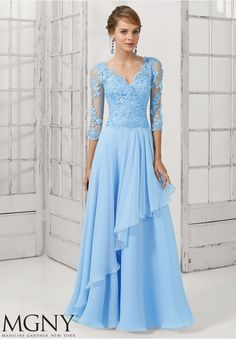 Evening Gown 71110 Chiffon with Beaded Lace Appliques on Net