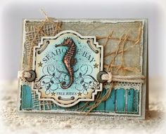 Nautical card designed by Amy Sheffer using Seashell Bay, Vintage Map Background Stamp.