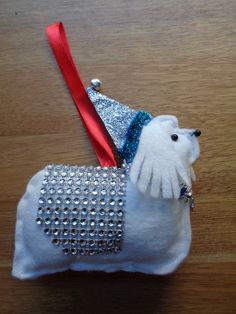 Handmade White felt Christmas Maltese terrier dog hanging decoration by CraftyBunnyDog on Etsy