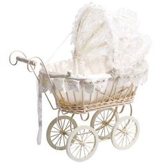 Brand New Kids Classic Antique Wicker White Lace Pram Pushchair