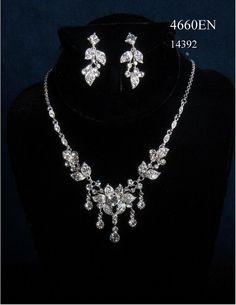 Silver Rhinestone Floral Leaf Prom Wedding Bridal Necklace Earring Jewelry Set