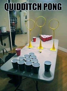 quidditch pong. Put fire whiskey and butterbeer in those cups and you've got yourself a proper game.