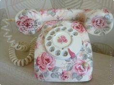 Shabby chic decoupage telephone