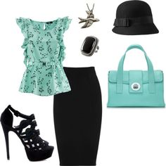 black and teal office attire (change the skirt to slacks and the heels to flats, and you have an outfit for me!)