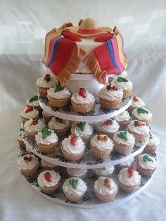 83 Mexican-Themed Wedding Cakes for Your Inspiration - VIs-Wed Mexican Themed Weddings, Themed Wedding Cakes, Wedding Cakes With Cupcakes, Themed Cupcakes, Party Cakes, Beautiful Cakes, Amazing Cakes, Mexican Cupcakes, Fiesta Cake
