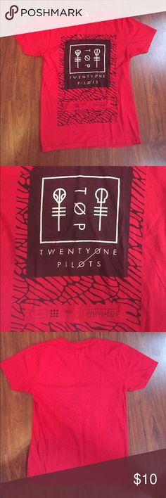 Twenty One Pilots Tee This twenty one pilots tee is a size medium, gently worn, and 100% cotton. Very soft and unique Tops Tees - Short Sleeve