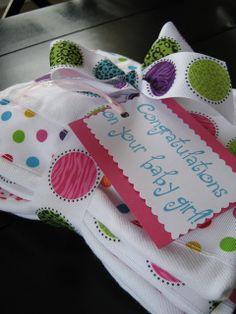 Easy burp cloths - ribbon sewn onto cloth diapers