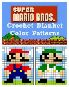 Mario and Luigi Super Mario Brothers Crochet Granny Square Blanket Patterns