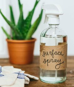 Clean consciously with an all-natural surface spray. All you need are some essential oils and vinegar!