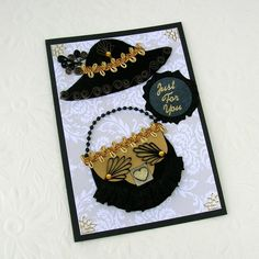 Paper Quilling Card Paper Quilled Black and by EnchantedQuilling, $8.25