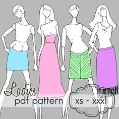 Ladies Knit Pencil Skirt - XS - XXXL - pdf sewing pattern