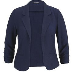 maurices Plus Size - Navy Blazer With Textured Fabric ($44) ❤ liked on Polyvore featuring outerwear, jackets, blazers, blue, plus size, navy blazer, womens plus size jackets, 3/4 sleeve jacket, blue jackets и navy blue blazer