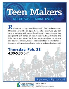 Teens get hands-on w/technology, 2/23, Amelia Branch #STEM #Makers