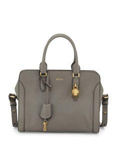 Small Padlock Satchel Bag, Dark Gray