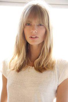 soft bangs, mid length hair