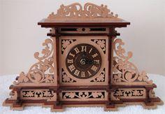 Mantel clock, scroll saw fretwork pattern