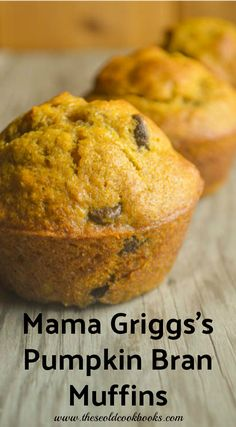 Mama Griggs's Pumpkin Bran Muffins with chocolate chips are full of flavor and are perfect for breakfast, afternoon snack or dessert. These muffins feature all-bran cereal that just gives it something a bit extra. All Recipes Pancakes, Pumpkin Muffin Recipes, Apple Crisp Recipes, Carrot Recipes, Breakfast Recipes, Bread Recipes, Breakfast Items, Cupcake Recipes, Gourmet