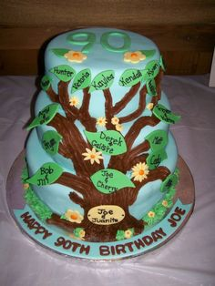 Happy 90th Birthday Family Tree 3 Tier Cake with Names