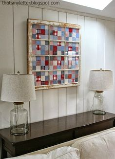 A Beautiful Way to Display Blocks New or Old! Quilt blocks framed in an old window create a lovely display. You'll find old windows at garage sales, thrift shops and more. Choose one with several… Old Window Art, Window Frame Decor, Old Window Frames, Window Ideas, Window Panes, Wall Decor, Old Quilts, Vintage Quilts, Mini Quilts