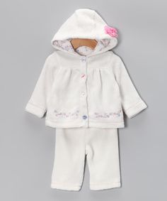 White Terry Hooded Jacket & Pants  #zulily #fall