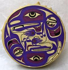 "Eagle & Raven 14"" Drum  Wood, Deer Skin, Acrylic Paint  Collection Recreation Dept. Vancouver Aboriginal Friendship Center Vancouver, BC  December 2012"