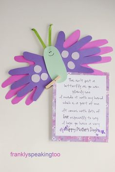 Butterfly Mother's Day Card using paper and card and handprint cut outs. Creativity Crafts have a whole stock of creative card so we'll be making these this year for sure!