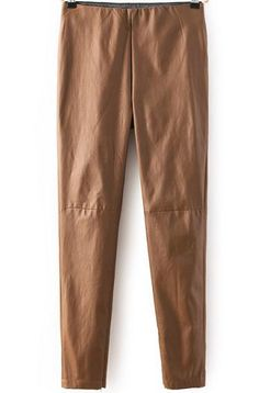 Khaki Slim PU Leather Pant 19.00