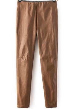 Khaki Slim PU Leather Pant 19.00