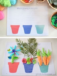 and Growing - Free Printable Garden Play Dough Mats Free Printable Garden and Growing Play Dough Mats! (preschool or kindergarten)Free Printable Garden and Growing Play Dough Mats! (preschool or kindergarten) Playdough Activities, Toddler Activities, Preschool Activities, Preschool Garden, Preschool Crafts, Art For Kids, Crafts For Kids, Material Didático, Spring Theme