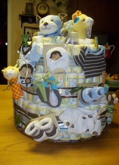 Diaper cake for twin boys!