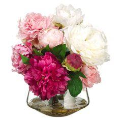 "12""Hx14""W Peony Silk Flower Arrangement -Pink/Cream"