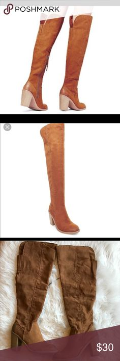 DV Dolce Vita Women's Size 7 Cognac Brown Boots DV Dolce Vita Women's Size 7 Cognac Brown Over The Knee Boots With Distressed Toes And Heels .  New With Tags ( Small scuff On Heels See Pics). DV by Dolce Vita Shoes Over the Knee Boots