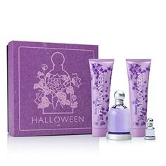 Nice Halloween by J. Del Pozo for Women 4 Piece Set Includes: 3.4 oz Eau de Toilette Spray + 5.0 oz Halloween Fruit Lotion + 5.0 oz Halloween Bubbles Shower Gel + 0.15 oz Eau de Toilette Collectible