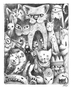 Mysterious Cats - drawing by frecklefaced29 on deviantART http://krecha.deviantart.com/art/Mysterious-Cats-drawing-26585014