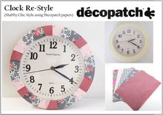 Wall clock re-style (shabby chic) using some of the papers that will be featured on HOCHANDA with Nikki Killinger next Wednesday July. Decoupage Glue, Wholesale Supplies, Paint Effects, Love Craft, Shabby Chic Style, Paper Design, Crafts To Sell, Wednesday, Patches