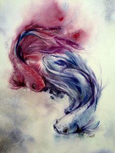 Siamese fighting fish yin yang Watercolor Fish Tattoo, Watercolor Tattoo, Yin Yang Fish, Betta Fish Tattoo, Yin Yang Tattoos, Siamese Fighting Fish, Work With Animals, Watercolor Animals, Fish Art