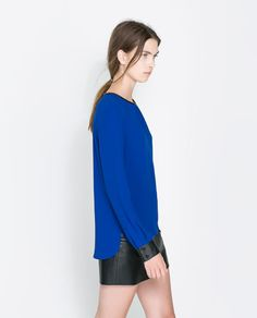 Image 2 of FRONT GATHERED TOP WITH CONTRASTING DETAIL from Zara