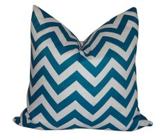 Teal Blue Chevron Pillow is waterproof. Pairs well with the Teal Blue Damask Pillow. #outdoor #beach #pillows #chevron  Size: 18x18  Zipper closure.