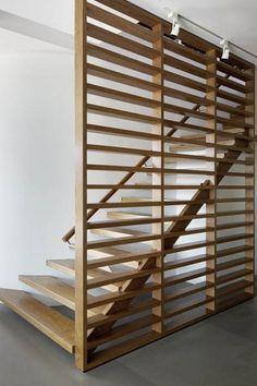 Wood stairs and partition.
