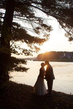 Deep Creek wedding photo as the sun sets on the lake