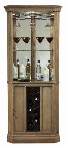 Howard Miller 690 028 Bairmont   Driftwood Finished Corner Wine U0026 Liquor  Cabinet