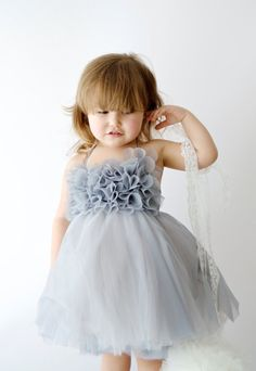 Halter Dress with crochet  frill bodice and puffy  tulle skirt