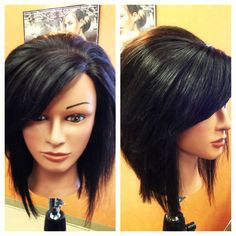 Inverted stacked bob with swoop bangs. (I like this Kaitlyn Redmond)!!