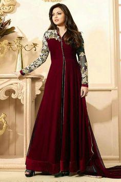 MAROON EMBROIDERED GEORGETTE BOLLYWOOD DRESSES #drasti #dhami #salwarkameez