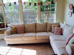 Reupholstered my sectional with drop cloths! : reupholster a sectional - Sectionals, Sofas & Couches