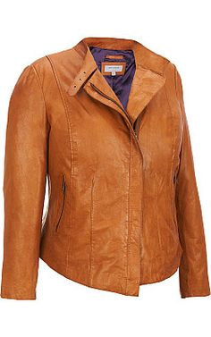 Plus Size Marc New York Asymmetrical Leather Jacket - #WilsonsLeather