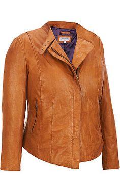Plus Size Marc New York Asymmetrical Leather Jacket - #WilsonsLeather