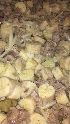 Escabeche de guineo con mollejas-Puerto rican food.